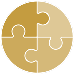 Icon of puzzle pieces coming together